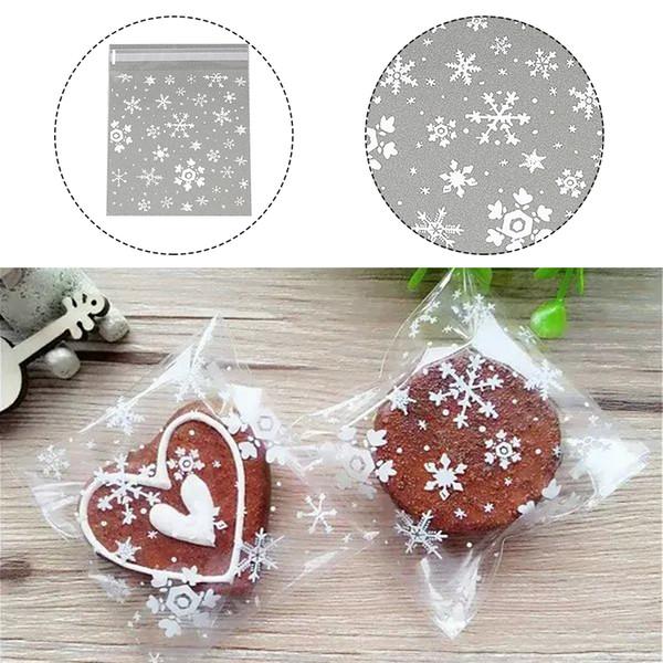 Beyaz Kar tanesi Plastik Şeffaf Selofan Pişirme Şeker Kurabiye Hediye Çanta İçin Düğün Noel Partisi Çok Amaçlı Favors