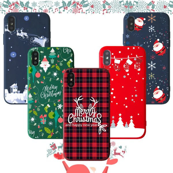 Custom frosted soft shell painting gifts Christmas patterns For iphone case iphone 6 case iphone x xs xr 7