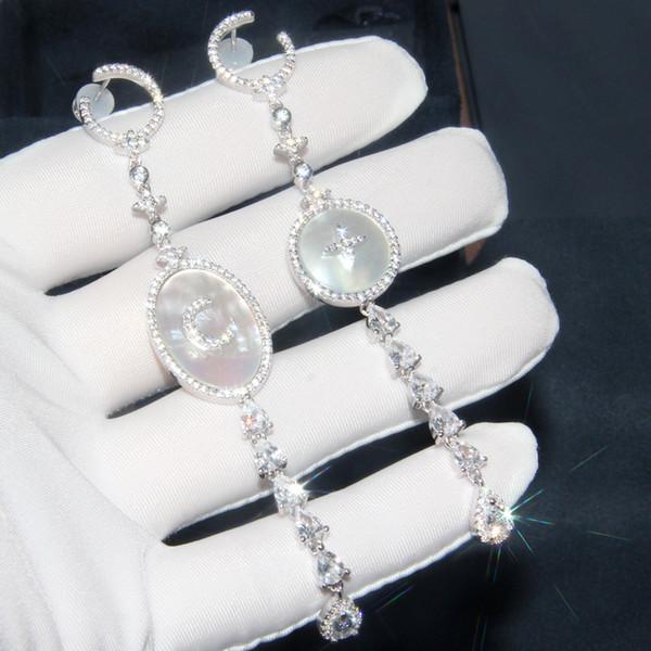Baoyocn Luxury S925 Sterling Silver Pink Silver Moon Star Drop Earrings with Mother of Pearl Cubic Zirconia Stones Women Jewelry