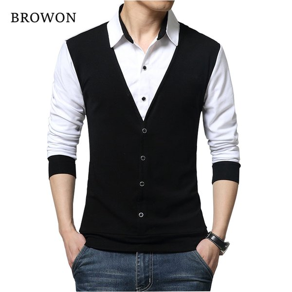 Browon Brand Autumn Mens T Shirts Fashion 2018 Fake Two Designer Clothing Cool T-shirt Men Long Sleeve T Shirt Casual Male J190614