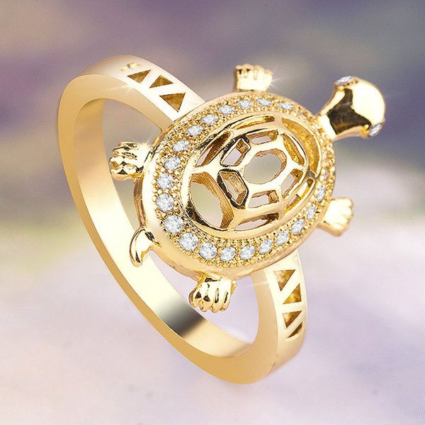 14k gold luxury creative hollow turtle neutral ring Sea Turtles Charms Lucky Making High quality rhinestone inlay celebration