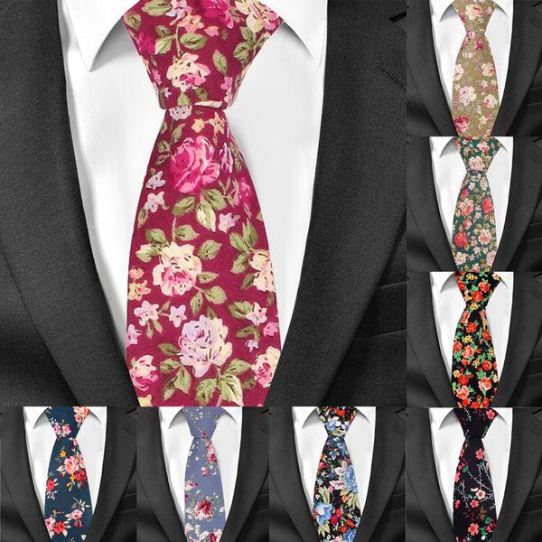 Düğün Damat İnce Boyun Bağları İçin Erkekler Tie Çiçek Baskı Pamuk Kravat İçin Erkekler Biçimsel Sıska Çiçek Bağları