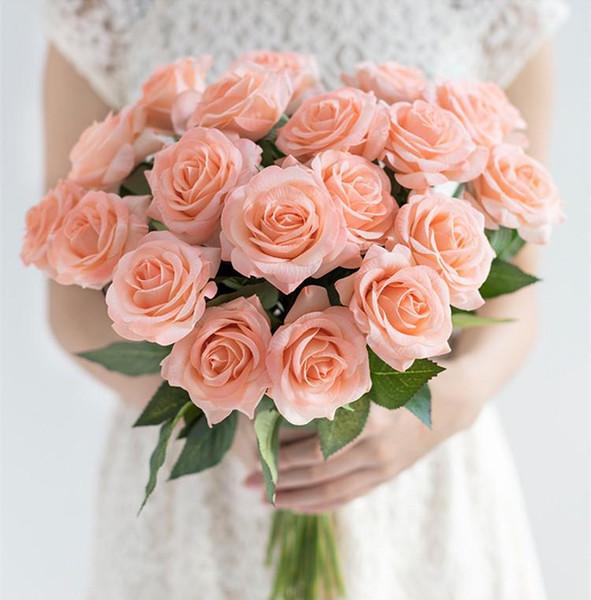 Rosa fresca Artificial Rose Flowers Real Touch Rose Flowers Decoraciones para el hogar para el banquete de boda o cumpleaños Fake Plant