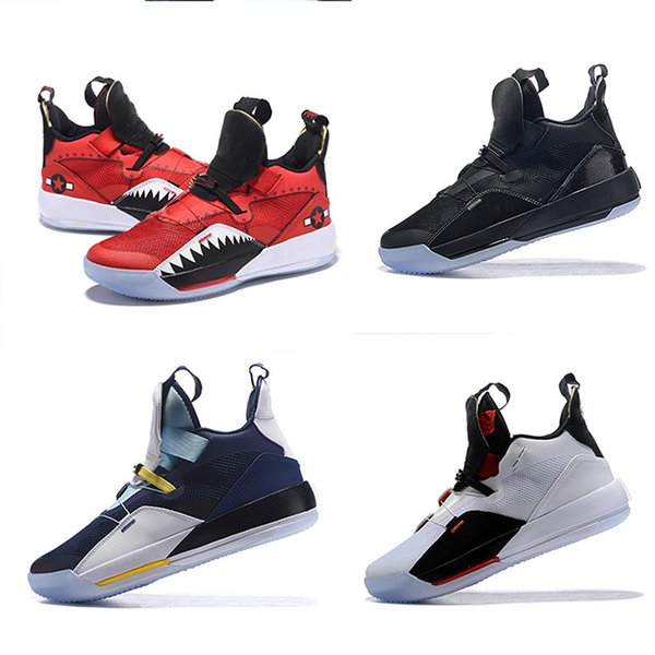 top popular HOT 33 Utility Blackout basketball shoes mens sports shoes Gym Red Chicago TECH PACK 33s PE Athletic sneakers designer shoes SIZE 40-46 2019