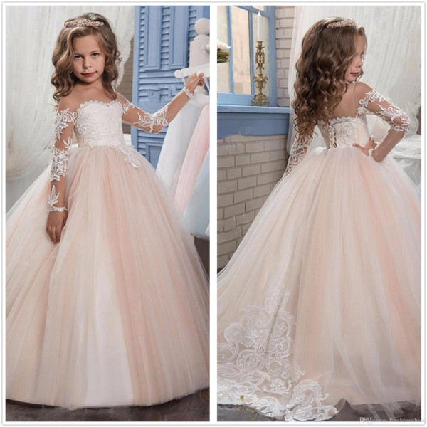 Long Sleeves Lace A Line Flower Girl Dresses Vintage Tulle Lace Applique Floor Length Gilrs ' Pageant Party Dresses Real Image3463434