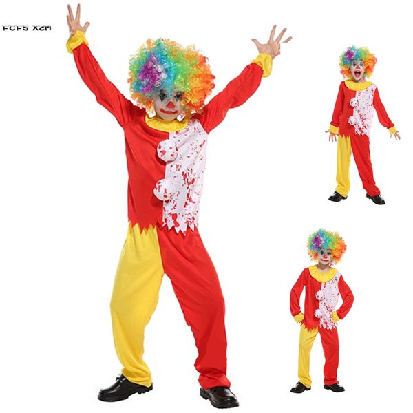 M XL Boys Horror Clown Cosplay Kid Children Halloween Joker Droll Costume Carnival Purim Parade Stae Play Masquerade Party Dress Best Team Costumes