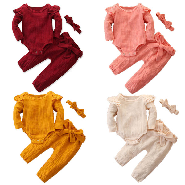 best selling Baby Girls Outfits Suit 4 Color Toddler Ruffler Long Sleeve Romper Tops Kids Casual Clothes Girls Cotton Pants Headband Kids Casual Set 06