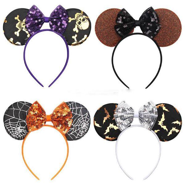 Bebê Bowknot Headband Meninas Halloween Crânio Orelhas do Rato Varas Do Cabelo Lantejoulas Bowknot Glitter Headwear Faixa de Cabelo Crianças Acessórios Para o Cabelo