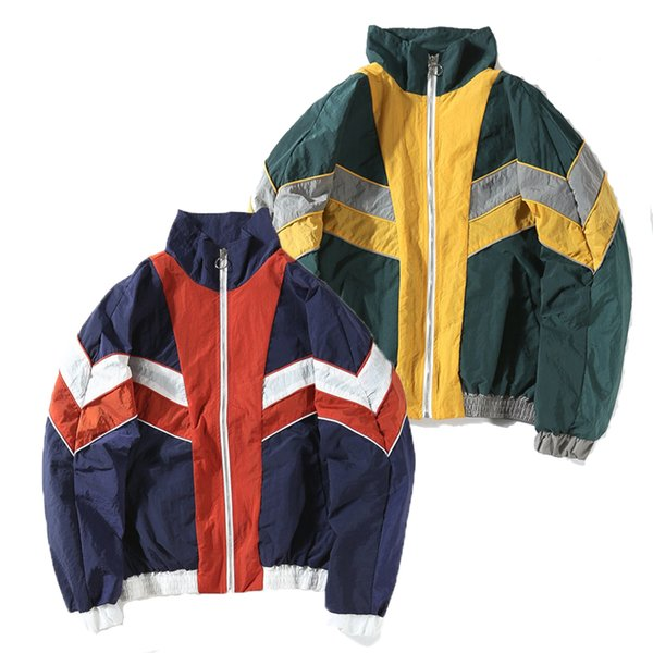 Giacche vintage multicolor color block patchwork windbreaker 2018 Autunno Hip Hop Streetwear Zip Up Track Giacche casual