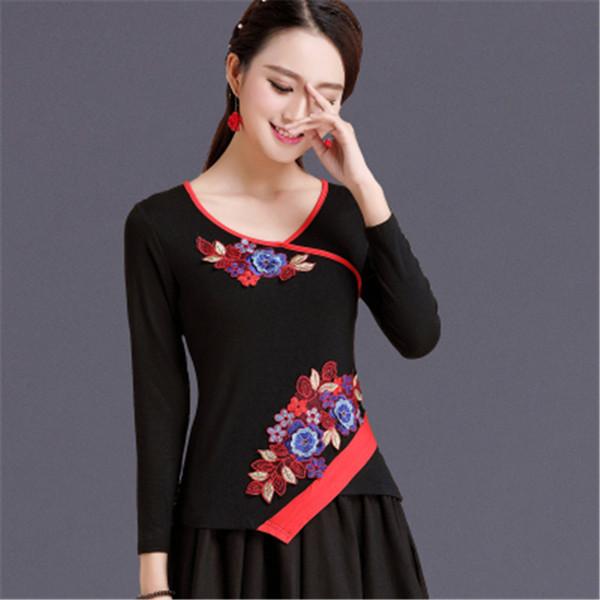 Embroidery Camiseta Feminina Folk-Custom Haut Femme Fashion Tee Shirt Femme Elegant Top Tee Casual T Shirt Women Clothes