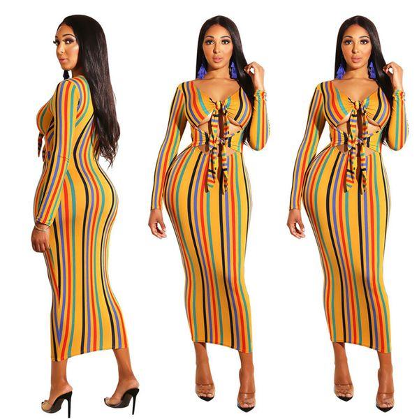 Ribbon Sexy Bodysuit Colorful Stripe Dress Lady Designer Long Sleeve Clothing Womens Dress