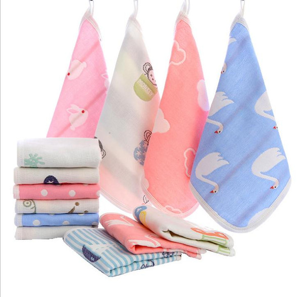 Square scarf six layers of gauze cotton handkerchief kindergarten children small square baby baby cotton cartoon baby absorbent towel