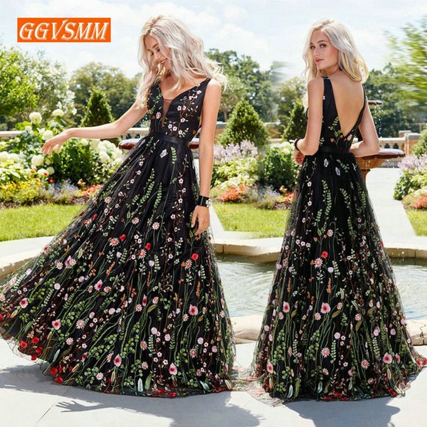 Sexy Black Bohemian Long Prom Dresses 2019 Prom Press Women Party V-neck Tulle Embroidery Lace Backless Beach Boho Evening Gowns Y19042701