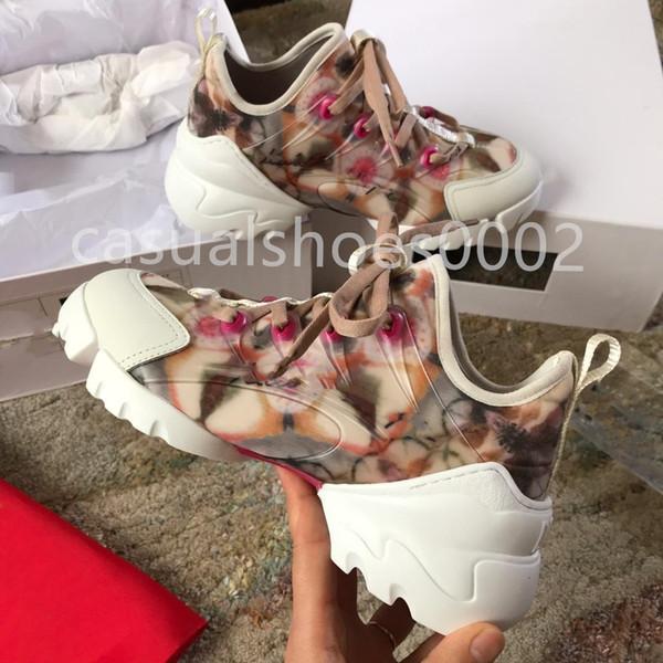 2019 роскошный дизайнер женщин технологии спортивные кроссовки топ моды сафлор желтый цветок кожаные туфли на платформе повседневная ну вечеринку туфли L2