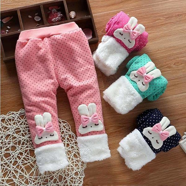 good quality 2019 baby girls trousers infant elastic pants winter thick warm pants clothing toddler cartoon rabbit clothes for girls