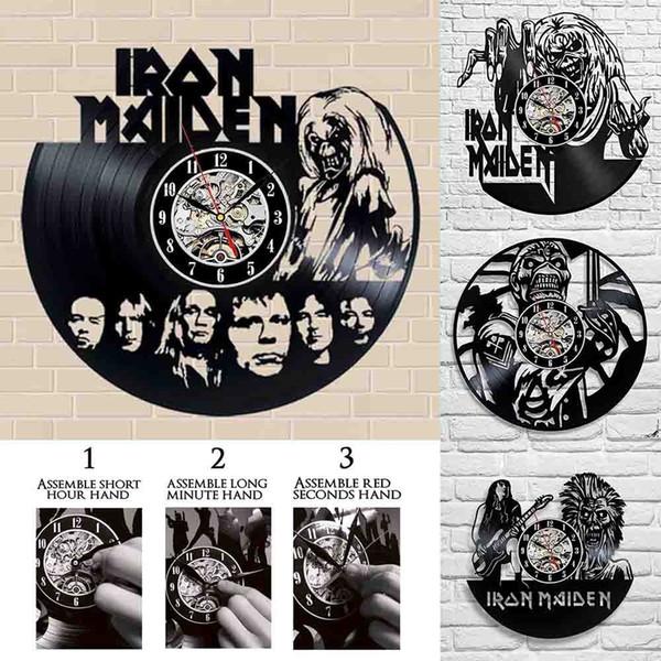 Heavy Metal Rock Style Band Iron Maiden Black Vinyl Record Wall Clock Top Quality Wall Art Wall Sticker Rock Music Bar Room Home Decor