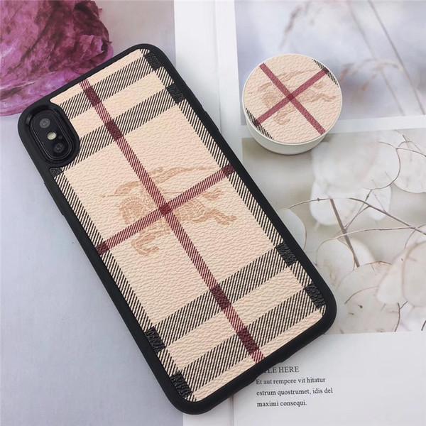Cassa del telefono di lusso all'ingrosso di iphone xr per iPhone 7 8 Plus moda cover posteriore di design in lattice cachi con cavalletto per regali