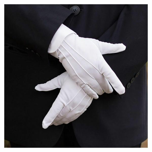 1pair bianco lavoro assicurazione cotone lavoro guanti elastici donne uomini guanti medio medio di spessore guanti cerimoniale ispezione guanti