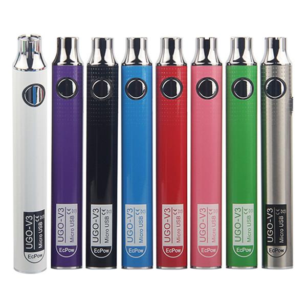 Cigarrillos electrónicos Batería UGO-V3 650 900 mAh Precalentamiento Batería UGO V3 III Carga micro USB Ajuste 510 Hilo EGo Aceite grueso Vape Cartucho