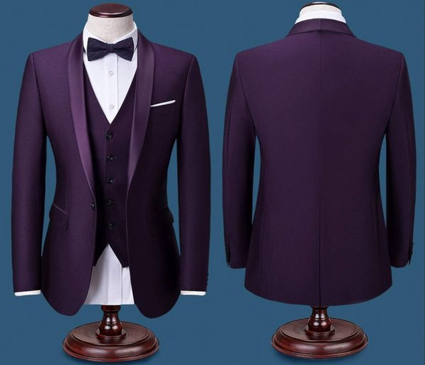 Latest Designs High Quality Men Suit Custom Made Size Tuxedos Prom Dinner Mens Suits Best Man Groom Wedding Suits (Jacket +Pants+Vest)