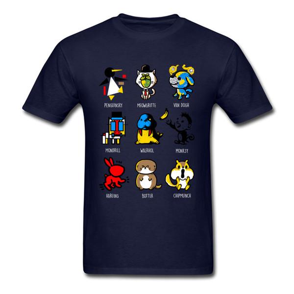 Animart T-shirt Men Kawaii Tops Cartoon Animals Printed Clothing Summer Blue T Shirt Cotton Tshirts Funny Lovers Tees