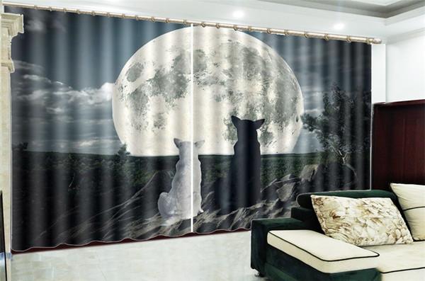 Venta al por mayor Ventana de la cortina 3d Lobo blanco y negro que mira la luna Dormitorio personalizado Sala de estar Cortinas bellamente decoradas
