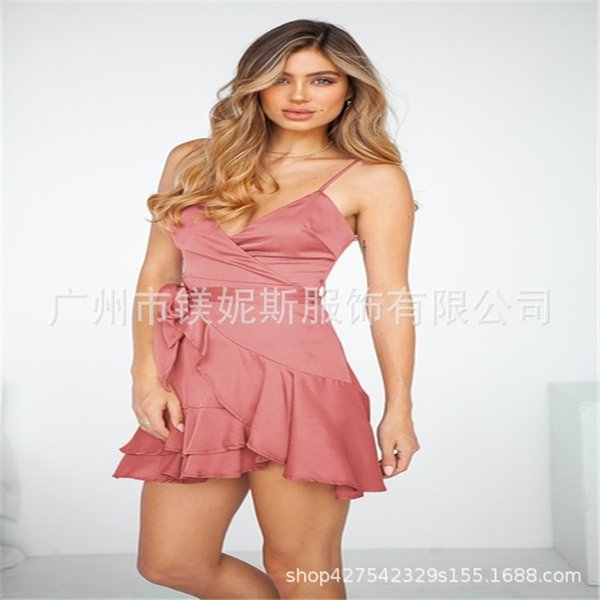 skirt Summer clothing Girl New in 2019 Wholesale offer2019 Women's Clothes Camisole V Collar Lotus Leaf Edge dress