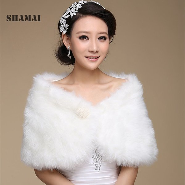 SHAMAI Free Shipping women Winter Sleeveless Cheap Pearl Bridal Wraps Warm Fur Boleros Bridal shrug stole Evening Party