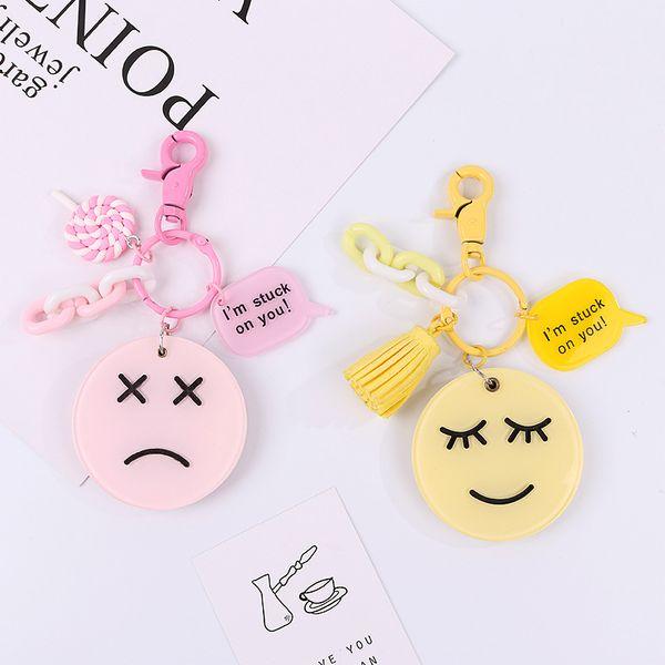 Mignon miroir visage de dessin animé porte-clés pour pendentif sac femmes filles Figure Charms Tassel Porte-clés Bijoux Porte clef