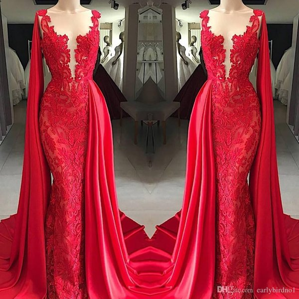 2019 New Fashion Sheer Neck Red Lace Mermaid Prom Dresses With Cape Sleeveless Appliqued Formal Dresses Evening Wear Floor Length Cheap