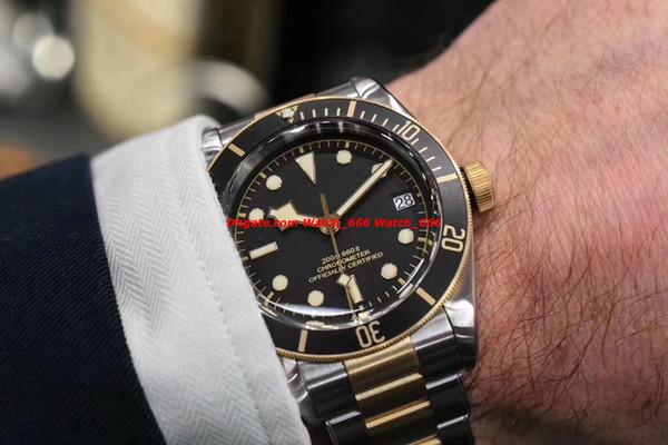 Melhor Qualidade Z / F Eta.2824 Automático Relógio De Luxo Mens 41mm 79733N Herltage Black Bay Preto Dial Relógios Dos Homens de Ouro Amarelo
