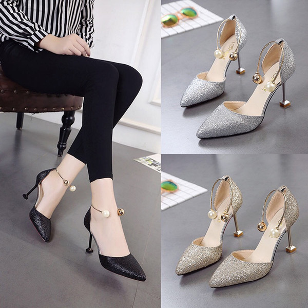 korean version of hollow women's shoes high heels european and american pearl metal pointed heels women's banquet gold sequins fashion women