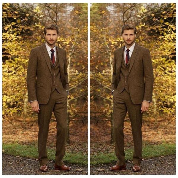 Latest England Country Three Piece Suit for Men Peaked Lapel Mens Winter Coat Slim Fit Wedding Groom Wear(Jacket+Pants+Vest)