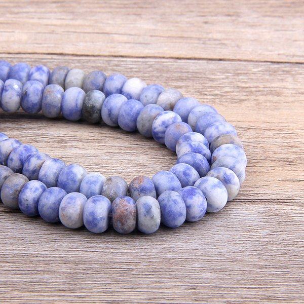 Vinswet Natural Blue-vein Sodalite Stone Matte Loose Spacer Rondelle Beads 4*6/5*8MM DIY For Jewelry Necklaces Making Bracelet