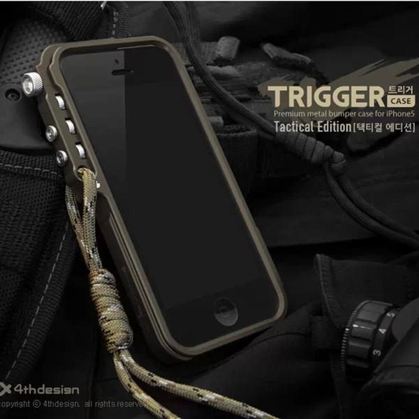 Trigger metal bumper for iphone X 7 8 5 5S SE 4 6 6S Plus 4thdesign premium Aviation Aluminum bumper phone case tactical edition