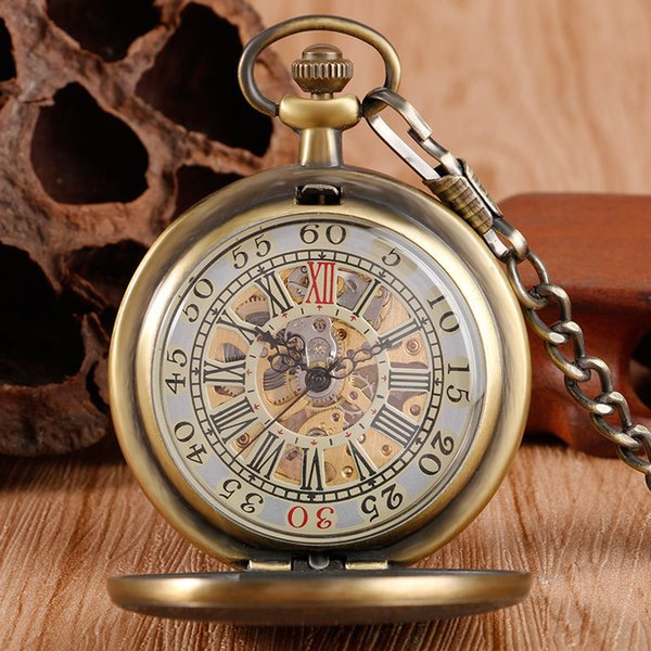 Bronze Relógio Mecânico Mão Placa De Bolso Prancha Padrão Retro Vintage Estilo Antigo Wind Up Pingente Cadeia Fob Para Mulheres Dos Homens C19010301