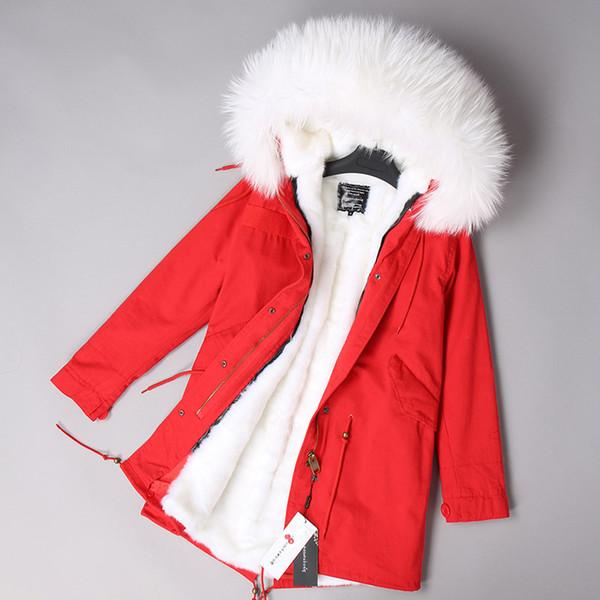 Cappotto da donna Inverno Medio Lungo Solid Warm Fodera di pelliccia staccabile Femminile Parkas 2018 Hooded Real Fur Bianco Verde Giacche Soprabito