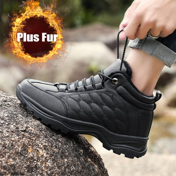 GNOME Winter Cold-proof High Top Cotton Shoes Men Black Plus Plush Ankle Boots Men Free Shipping Keep Warm Male Boots Size 40-45