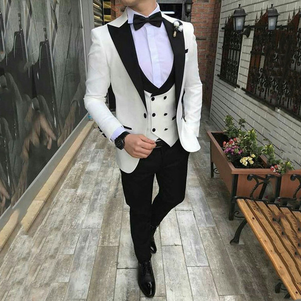 Black Peaked Lapel Ivory Groom Tuxedos Wedding Suit Man Suits Blazers Jacket Prom Party 3 Pieces Latest Coat Pant Designs Costume Homme