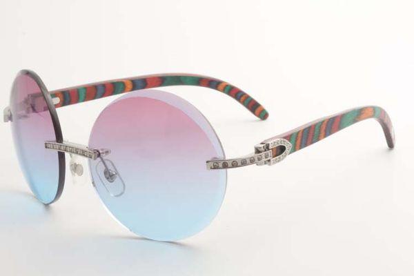 Nuevo estilo de pequeños diamantes completos gafas de sol lentes de recorte 3524012 redondas con templos de madera pavo real natural, Tamaño: 56-18-135 mm