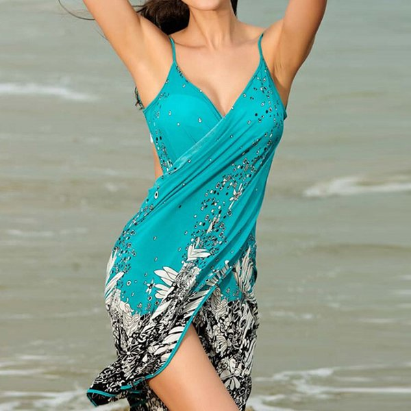 Vestido de playa de las mujeres Sling sexy Vestido de playa Vestido de Sarong Bikini Encubrimientos Abrigo Faldas Pareo Toalla Flor Open-Back venta caliente