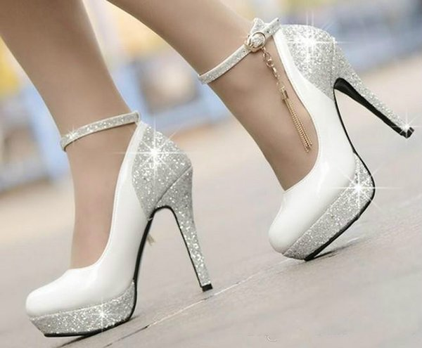 12 cm Beyaz püskül sequins su geçirmez tayvan yüksek topuk elbise ayakkabı parti ayakkabı gelin düğün ayakkabı shuoshuo6588