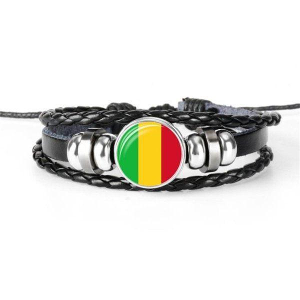 Stylish Handmade Leather Rope Beaded Bracelet For Women Men Mali National Flag World Cup Football Fan Time Gem Glass Cabochon Button Jewelry