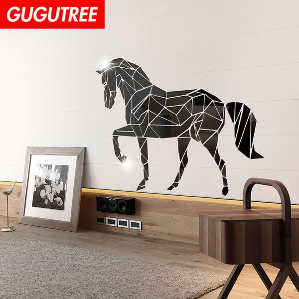 Decorate Home 3D horse animal cartoon mirror art wall sticker decoration Decals mural painting Removable Decor Wallpaper G-287