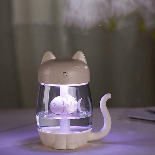 LED chat humidificateur nuit lumière intérieur couleur atmosphère lumière multicolore dessin animé rougeoyant jouet blanc rose bleu violet
