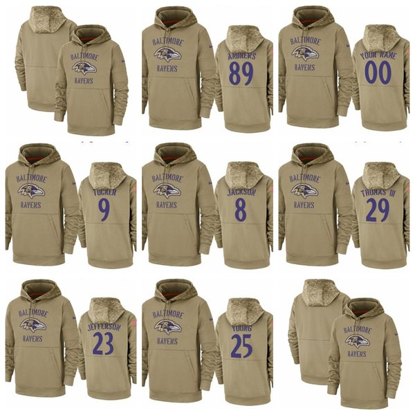 Men Women Youth Hot Style Raven #89 #9 #8 #29 #23 #25 Customize Any Number & Name 2019 Salute to Service Therma Pullover Hoodie