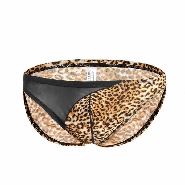 #B203 Wholesale Men's underwear sexy Leopard briefs fashion mesh gauze patchwork breathable pouch underpants panties cuecas free shipping