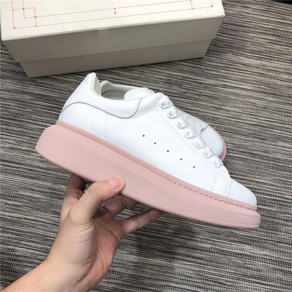 Color rosa blanco opcional Últimos zapatos planos de cuero para mujer, zapatillas de deporte de diseñador en zapatos casuales con tamaño de caja 35-39