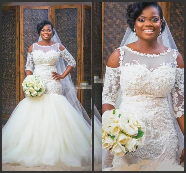 New Elegant African Mermaid Abiti da sposa Cape Sleeve puffy gonna in tulle Abiti da sposa vintage Applique in pizzo Plus Size Abito da sposa Bianco