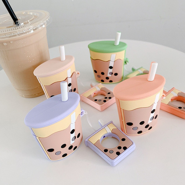 For AirPods Case 3D Cartoon Cute Bubble tea Earphone Cases For Apple Airpods 2 Funny Accessories Protect Cover with Finger Ring Strap